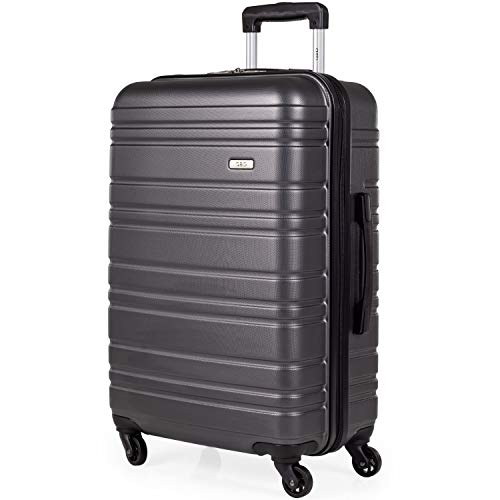 ABS Hard Shell 26 Inch Suitcase - Travel Luggage by A2B with 4 Spinner Wheels | Telescopic Drag Handle | Hard Sided Suitcases Weighing 3.4kg Cap 62L Height 66cm (Grey, Medium)