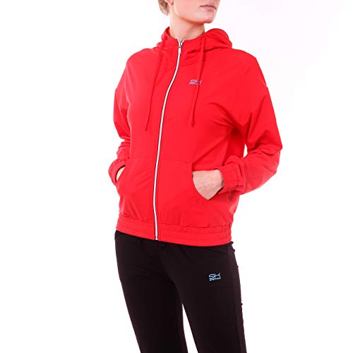Sportkind Mädchen & Damen Tennis, Fitness, Sport Trainingsjacke mit Kapuze & Taschen, atmungsaktiv, rot, Gr. S