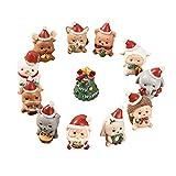 Elonglin - Lote de 10 figuras decorativas navideñas en miniatura de resina de pera, muñeco de nieve para manualidades