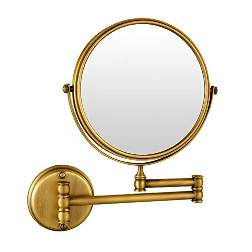 Bath Le Miroir grossissant fixé au Mur de miroirs de Maquillage, Double a dégrossi des miroirs de Salle de Bains Antiques pour la Douche, 3X Se Pliant,Round_8inch