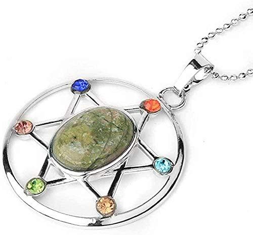 ZJJLWL Co.,ltd Collar Estrella de David Colgantes Forma de Huevo Piedra Natural Reiki Cristal Hexagrama Amuleto Collares para Mujeres Hombres Joyería de Moda 45Cm