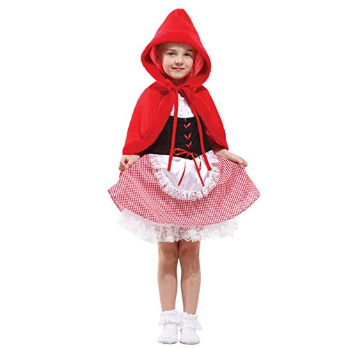 Tongchou Costume per travestimento da Cappuccetto Rosso Bambina Vestito Bambina Halloween Carnevale Taglia M