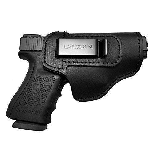 LANZON Leather IWB Handgun Holster, Concealed Carry Holster, Fits Glock 17 19 22 23 32 33 36 43, S&W M&P Shield, Springfield XD-S, Kel-Tec PF-9, Beretta 92FS, Sig Sauer P228&All Similar Firearms-Right