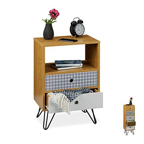 Relaxdays Cajonera Vintage, Retro, Mesilla para el Dormitorio, 65x45x30 cm, DM-Acero-PB, Multicolor, Diseño A: mesita de Noche