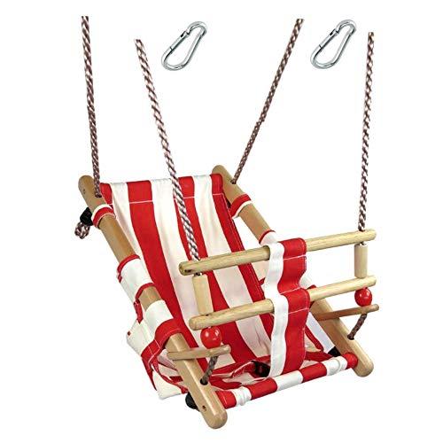 h2i Baby Stoff Schaukel im Matrosenlook rot/weiß mit Haltegurt für Indoor + Outdoor incl. Karabiner zum Einhängen