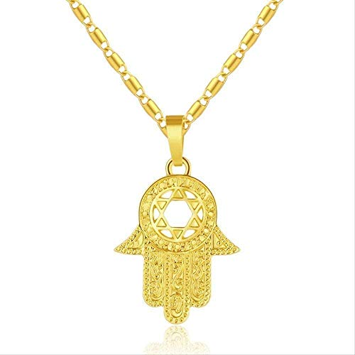 LKLFC Necklace Women Necklace Men Necklace Star of Israel Hamsa Hand Pendant Necklaces for Men/Women Gold Color Amulet Hand Jewelry Pendant Necklace Girls Boys Gift