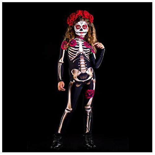 ABCDE FC637 Damas 3D Medias Esqueleto, Mono de Esqueleto Esqueleto de Miedo de Halloween, Disfraz de Cosplay de Flor Rosa aterradora para nios y Adultos, Negro (Color : Children, Size : S)