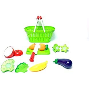 Kids Grocery Shopping Basket With A Combination Of Fruit & Vegetables Kitchen Role Play Dress Up Toy Set Accessories:Maxmartyn