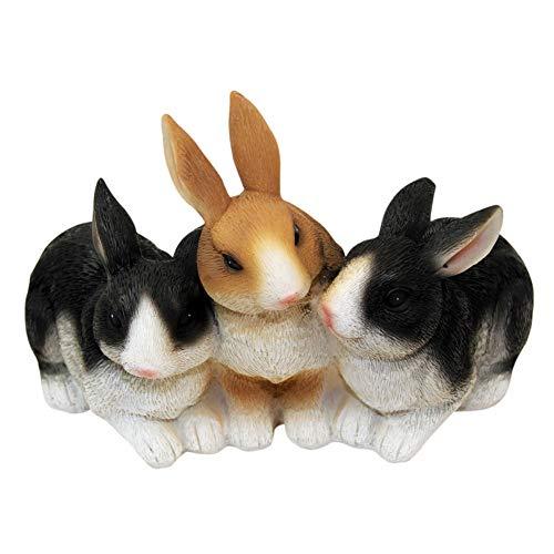 1PLUS figurine de jardin en polyrésine: 3 lapins, décoration de jardin de la taille (L x H x P) : env.21 x 14,5 x 15 cm.
