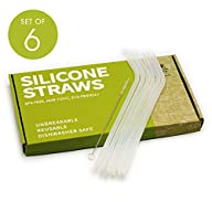 Andcolors Silicone Straws Set re-useable and Environmentally Friendly Easy to Clean with Included Cleaning Brush 100…