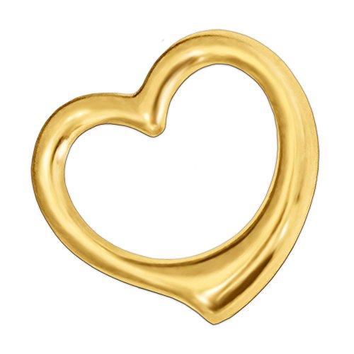 CLEVER SCHMUCK Goldener Anhänger Herz 16 mm innen offen und beidseitig plastisch gewölbt 333 GOLD 8 KARAT