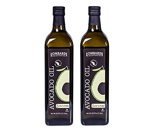 Lombardi 100% Pure Avocado Oil 2 Pack 67.6 fl oz (2 x 33.8 fl oz) Premium Quality 2 Liters (2 x 1 Liter) Kosher Non-GMO Product of Mexico Cold Pressed for Cooking, Backing, Salad Dressing
