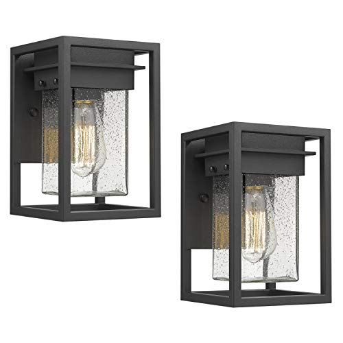 Osimir Outdoor Wall Sconce 2 Pack, Modern 1-Light Outdoor Wall Lighting Fixtures in Black Finish with Bubble Glass Lamp Shade, Outdoor Patio Porch Wall Mount Light 2103-1W-2PK