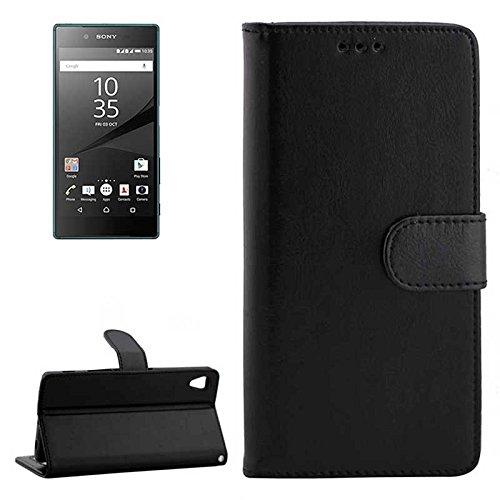 DINGGUANGHE-PHONE CASE Handys Klapphüllen Telefonkasten for Sony Xperia Z5 / E6603 / E6653 / E6633 / E6683 Horizontal Flip Ledertasche mit Kartenfächern und Brieftasche Hüllen (Color : Black)