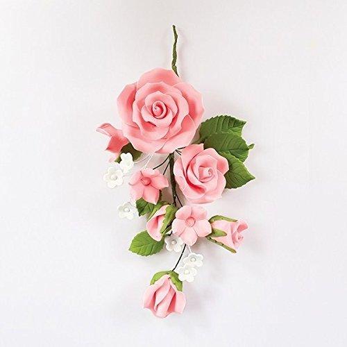 Flores de pasta azúcar para tarta de boda o aniversario, diseño de rosas, color rosa