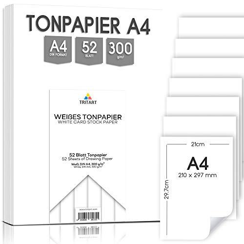 Tritart - gekleurd papier A4 300g / m2 I 52 vellen vast knutselpapier HOOGWAARDIG I stabiel creatief tekenpapier om te knutselen en te schilderen, stevig tekenkarton I DIY tekenpapier wit