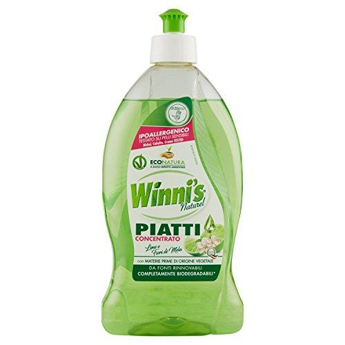 Winni'S - Detergente Piatti, Naturel, Concentrato, Ipoallergenico, Con Materie Prime Di Origine Vegetale, Lime E Fiori Di Mela - 500 Ml