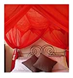 OctoRose 4 Poster Bed Canopy Netting Functional Mosquito Net, Red