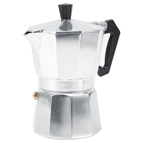 Cafetera Mocha Octogonal Tazas 3/6/9/12 Tazas Aluminio Tipo italiano Moka Olla Cafetera expreso Estufa para uso en el hogar u oficina Hot (Silver)(150ML 3cups)