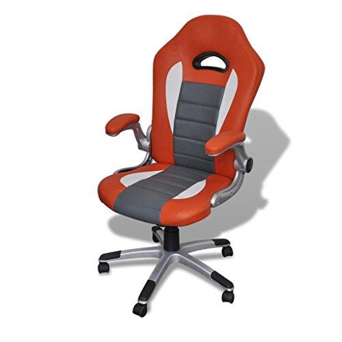 Bureaustoel van leer, modern design, oranje, materiaal frame: kunststof + multiplex + ijzeren bureaustoel