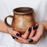 Pottery Clay Coffee Mug Ceramic 8.5 oz - Handmade Brown Coffee Cups Unique Rustic Tea Cups Clear Stoneware Mugs - Farmhouse Handcrafted Pottery Gifts for Men Husband Dad