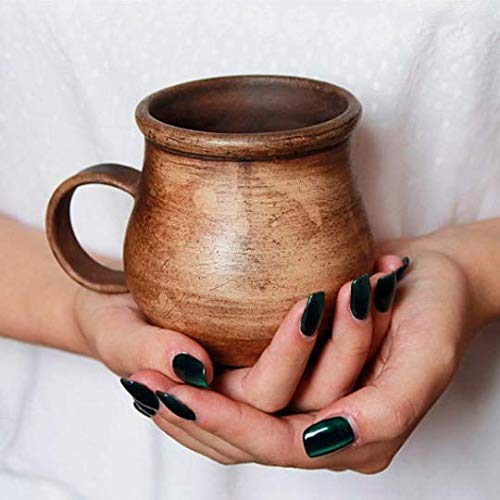Pottery Clay Coffee Mug Ceramic 8.5 Handmade Popular brand oz - C New Shipping Free Brown