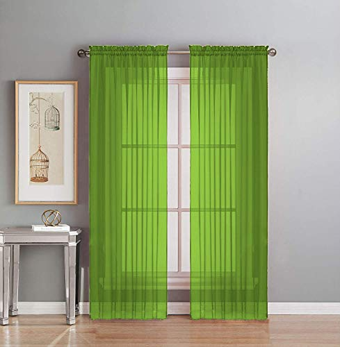 """Interior Trends 2 Piece Fully Stitched Sheer Voile Window Panel Curtain Drape Set (63"""" Long, Lime Green)"""