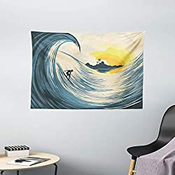Ambesonne Ocean Tapestry, Illustration of Cloudy Sky Tropical Island Wave and Surfer at Sunset Seascape, Wide Wall Hanging for Bedroom Living Room Dorm, 60 X 40, Beige Yellow