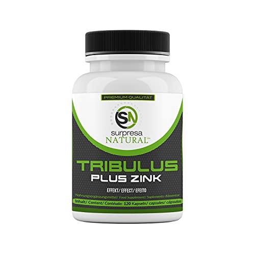 Surpresa Natural® - Tribulus Plus Zink - 120 hochdosierte Kapseln | 100% gesunder & natürlicher Muskelaufbau | Tribulus Terrestris Extrakt | Nahrungsergänzung für Libido & Muskulatur