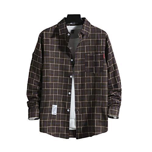 Camisa de Manga Larga a Cuadros Retro para Hombre, Ropa de Calle Relajada, Informal, con Costuras en Todos los Partidos, Camisa básica con Bolsillo Lateral