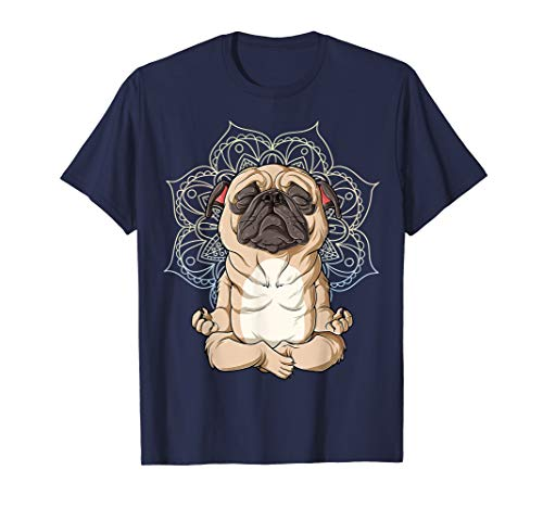 Pug Yoga T shirt Mandala Funny Spiritual Meditation Chakra