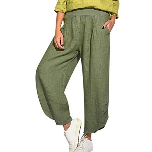 VJGOAL damesbroek, hoge taille grote maten full colour katoen en linnen broek met wijde pijpen losse broek