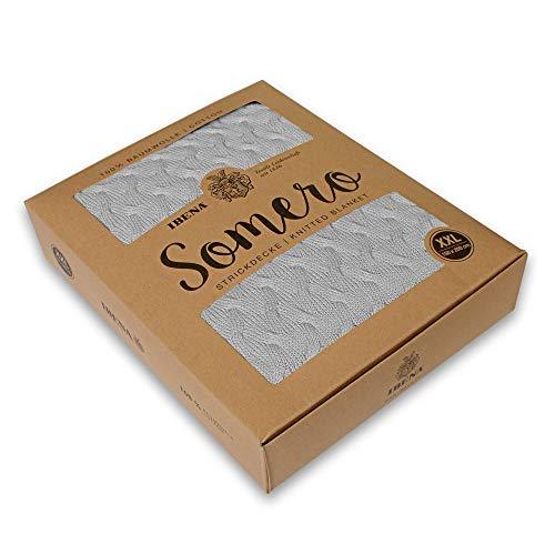 Ibena Somero Strickdecke 150x200 cm - gestrickte Kuscheldecke grau 100prozent Baumwolle, kuschelig weich & angenehm wärmend
