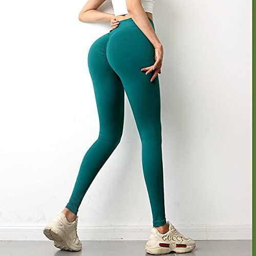 CYMTZ Entrenamiento Poner Leggings En La Cadera Leggings Elásticos Delgados De Cintura Alta Mujeres Fitness Running Training Skinny Comfy Legging XL Verde
