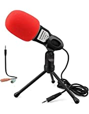 Micrófono de computadora, 3,5 mm Plug and Play, micrófono omnidireccional con soporte de escritorio para juegos, vídeo YouTube, grabación Podcast, estudio, para PC, portátil, tableta, teléfono