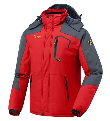 donhobo Herren Winter wasserdichte Winddichte Winterjacke Warme Fleece-Futter Ski Jacken Regenmantel mit Kapuze Rot L