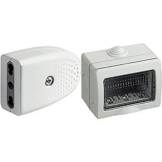 scheda bticino s2670tae presa volante, bianco + s25503e custodia idrobox ip55, bianco, 3 moduli