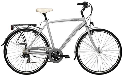 Bicicletta Cicli Adriatica Sity 3 da uomo, telaio in alluminio, ruota da 28', cambio Shimano a 18 velocità, due colori disponibili (Grigio, 58)