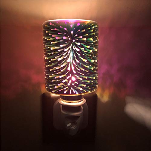 ZGHYBD 3D Plug-In LED Aroma Diffuser Lamp Elegant Electric Wax Melts Burner In Silver Mosaic- Plug In Wax Melt Burners