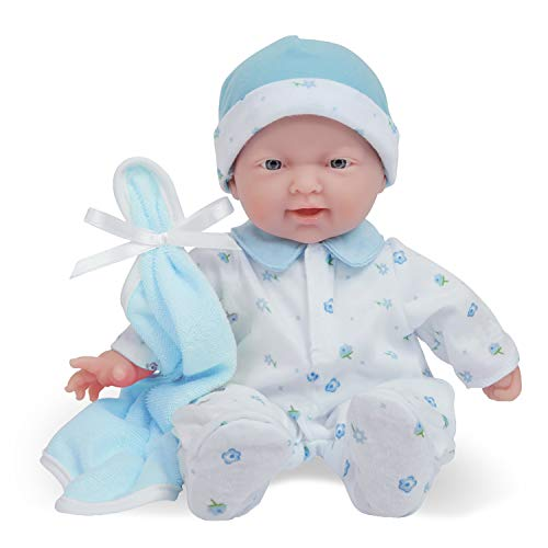 JC Toys Caucasian 11-inch Small Soft Body Baby Doll La Baby   Washable  Removable Blue Outfit w/ Cap & Blanket   for Children 12 Months +
