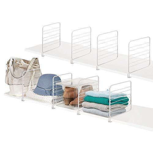 mDesign Veelzijdige Kast Plank Divider en Separator voor Opslag en Organisatie in Slaapkamer, Badkamer, Keuken en Kantoor Planken - Eenvoudige installatie, Stevige Draad Bouw