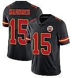 Camiseta de fútbol americano Kansas City Chiefs 15# Patrick Mahomes, camiseta de rugby retro para hombre de rugby, 123, color, black-XXXL