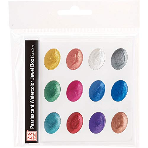 Kuretake ZIG Pearlescent Watercolor Jewel Box 12 shimmering metallic colors set, Portable, Effective for dark and light paper, AP-Certified, Acid Free, Professional quality, Made in Japan