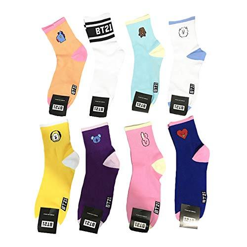 BESTHOO BTS Sportscoken Exquisite Medium Tube Strümpfe atmungsaktive Socken Männer und Frauen schwitzen Winter Baumwollsocken (Color : A01, Size : Onesize)