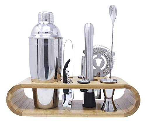 Homewell Bartender Kit: 10-Piece Bar Tool Set with Stylish Bamboo Stand for Bartending Cocktails and...