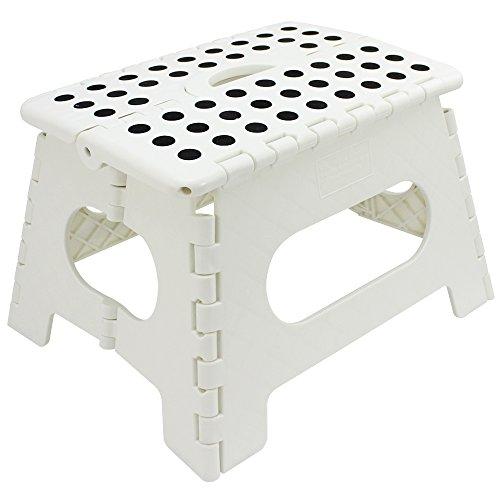 com-four® Klapptritt mit Gumminoppen, Tragbarer Klapp-Hocker in weiß, belastbar bis zu 150 kg, 31 x 22 x 22 cm (31 x 22 x 22 cm weiß - 01 Stück)