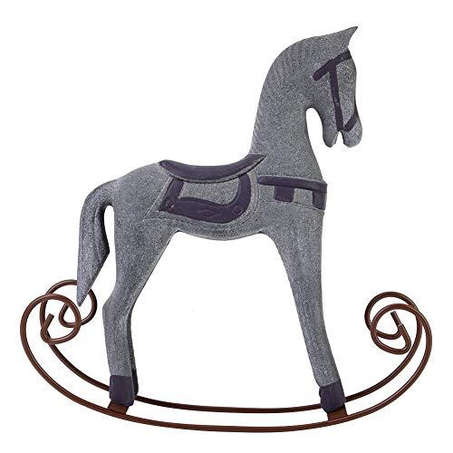 OKBY Cavallo a Dondolo - Cavallo a Dondolo in Legno Fatto a Mano Intagliato Dipinto Giocattolo per Bambini Decorazione da tavola(Grigio)