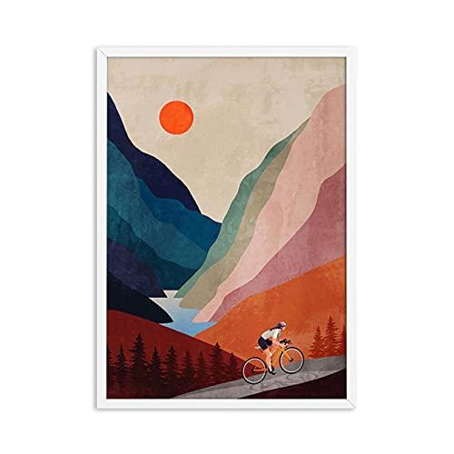 ThinkingPower Quadro su Tela Canvas Stampe Bicicletta Arte Ciclismo Ascendente in Montagne Astratta Acquerello Wall Art Immagini Bike Poster Room Decor 60x90cm