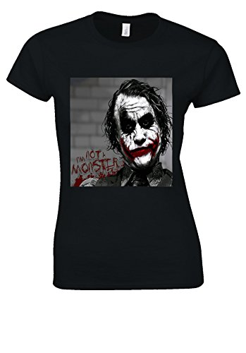 The Joker Heath Ledger Swag Hipster Novelty Black Women T Shirt Top-XL