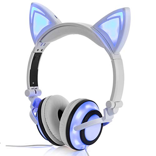 Stereo Kids Headphones,LIMSON Cat Headphones Foldable Size Adjustable Earphones with Flashing LED Lights for Kids Teens Adults, Compatible for iPad Tablet PC Computer Mobile Phone MP3 (White)